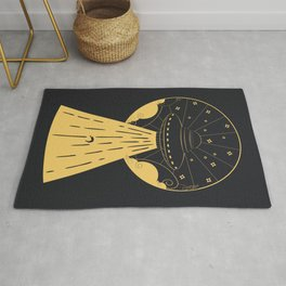 Retro design of flying ufo ship and human silhouette Rug