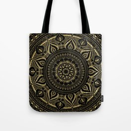Traditional mandala in gold//vintage flourish-botanical elements Tote Bag