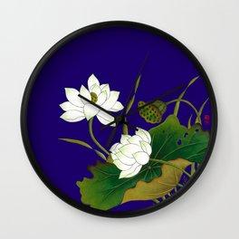 Blue Lotus Wall Clock