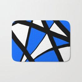 China Blue Geometric Triangle Abstract Inverse Bath Mat