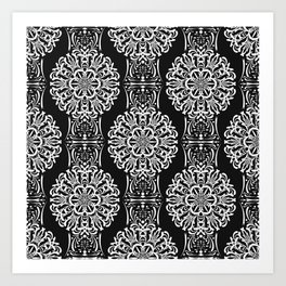 Black and white ornament .damask , damask ornament Art Print
