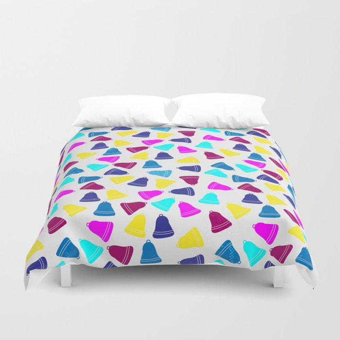 Colorful neon pink teal blue Christmas bells Duvet Cover