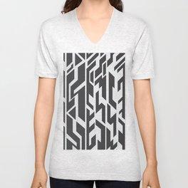 black and White.  Unisex V-Neck