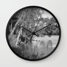 riverside, black and white Wall Clock