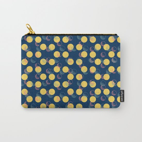 Yellow Polka Dots And Scribbles Carry-All Pouch