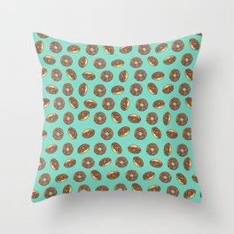 Chocolate donuts on Aqua Throw Pillow