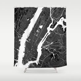 New York City Black And White Map Shower Curtain