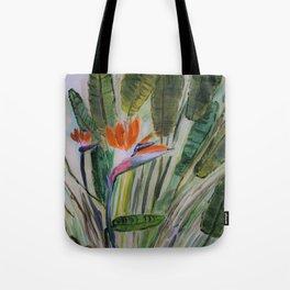 Tropical flower, palm leaves, summer print Tote Bag