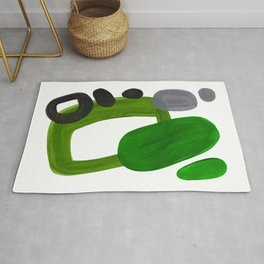 Mid Century Vintage 70's Design Abstract Minimalist Colorful Pop Art Olive Green Dark Green Grey Rug