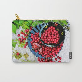 Cherries on black plates Carry-All Pouch