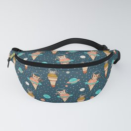 Cats Floating on Ice Cream in Space Fanny Pack