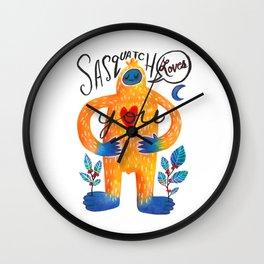 Sasquatch Loves You Wall Clock