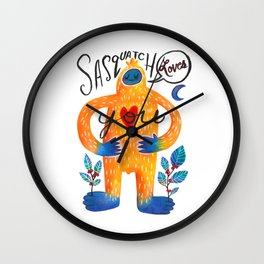 Sasquatch Loves You Wall Clock