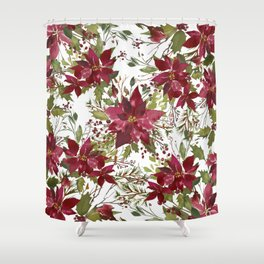 Poinsettia Flowers Shower Curtain