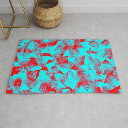 abstract cyan blue color shapes against red background pattern design Rug
