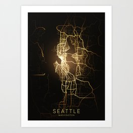 Seattle Washington city night light map Art Print