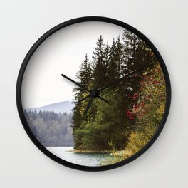 Trees by the Lake - Calm fall landscape | Travel, nature & botanical photograph art in Germany, Europe | Green & neutral colors Wall Clock