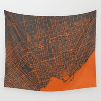 toronto Wall Tapestries featuring Toronto Map by Map Map Maps