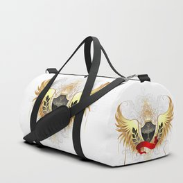 Black shield with golden wings Duffle Bag