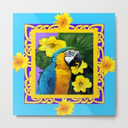 Tropical Blue & Gold Macaw Parrot Purple Art Metal Print