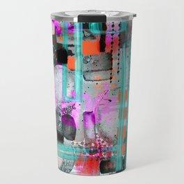 Purple, turquoise and black digital abstract design Travel Mug
