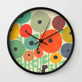 Cat in flower garden Wall Clock