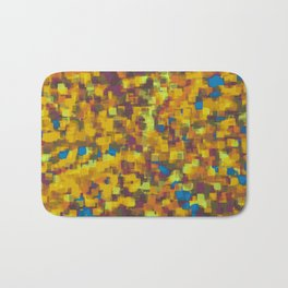 yellow blue and brown drawing and painting geometric square pattern background Bath Mat