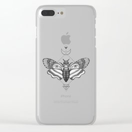 Dotwork Death's-Head Hawkmoth Clear iPhone Case