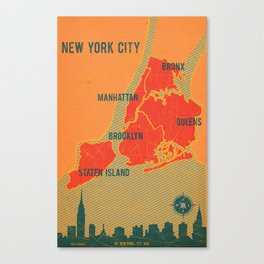 NYC Boroughs in Red Canvas Print