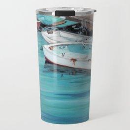Dinghy Boats Ocean Dock Blue Sea Travel Mug