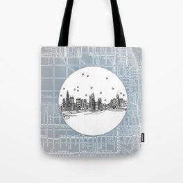 Chicago, Illinois City Skyline Illustration Drawing Tote Bag