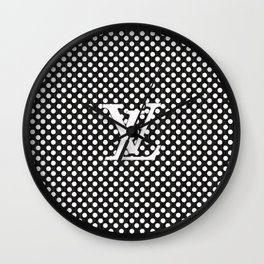 LV Polka Pattern Black Wall Clock