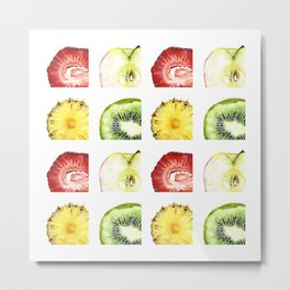 Fruit Slices Pattern Metal Print