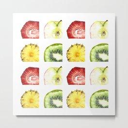 Fruit Slices Pattern Metal Print