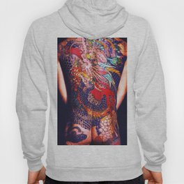 Tattoo Painting Man Back And Arms Blue Hoody