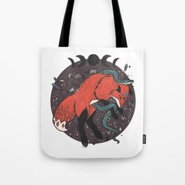 Jumping Fox With Snake, Gemstones, Moon Phases, And Witch Design Elements Tote Bag