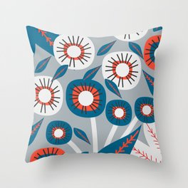Modern florals in red and blue Throw Pillow