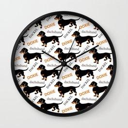 Black Tan Smooth Dachshund Wall Clock