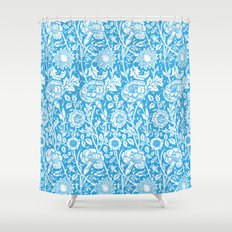 """William Morris Floral Pattern   """"Pink and Rose"""" in Turquoise Blue and White Shower Curtain"""