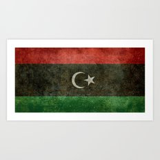 Official flag of the state of Libya, Vintage version to scale  Art Print