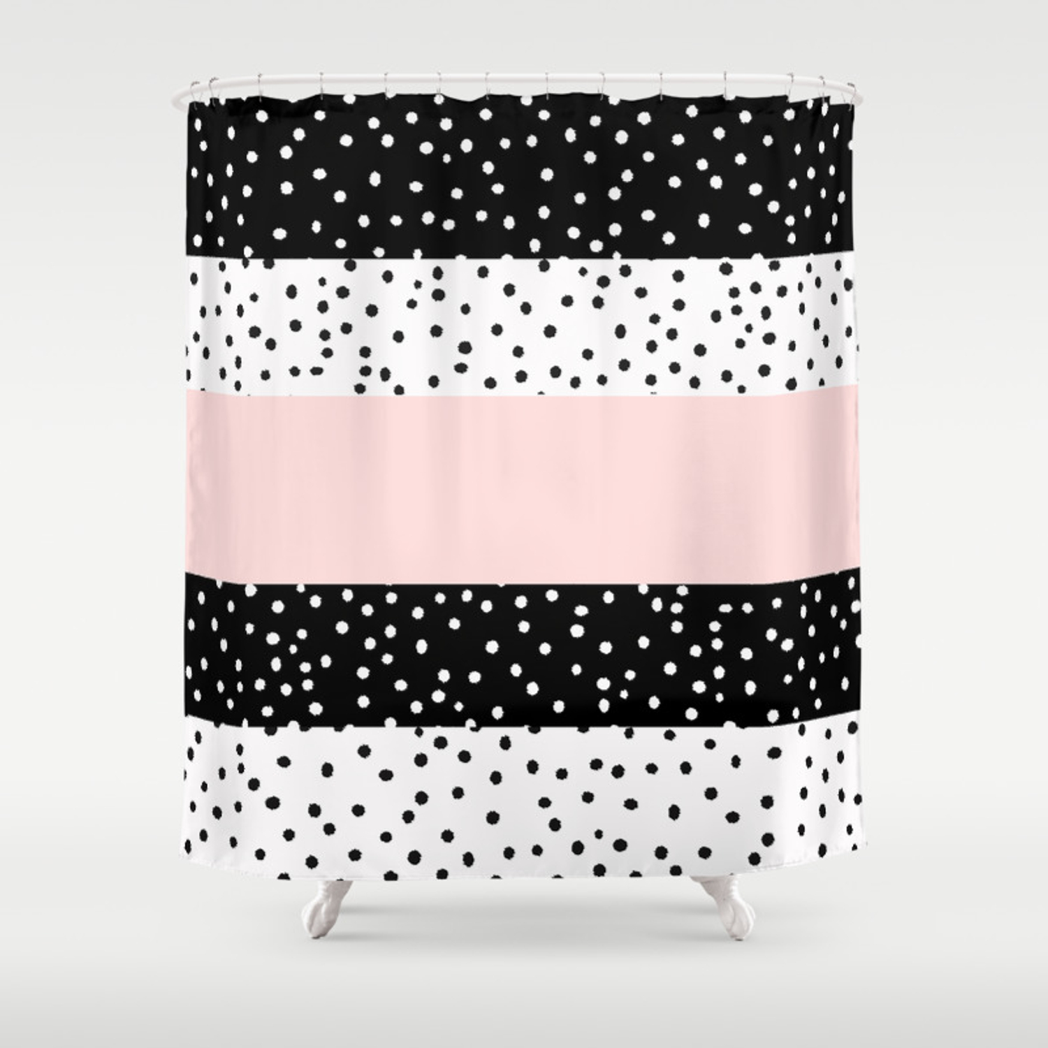 Modern Black White Blush Pink Polka Dots Shower Curtain By Pink Water Society6