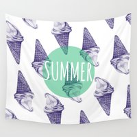 ice cream Wall Tapestries featuring ICE CREAM  by artic