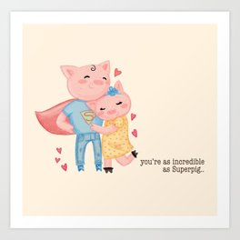 pig love Art Print