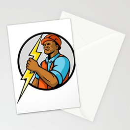 African American Electrician Lightning Bolt Mascot Stationery Cards