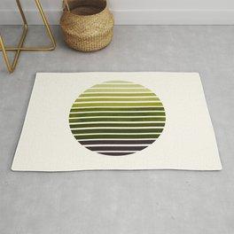 Olive Green Mid Century Modern Minimalist Scandinavian Colorful Stripes Geometric Pattern Round Circ Rug