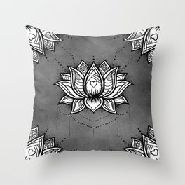 Lotus zentangle design Throw Pillow