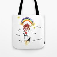 asexual Tote Bags featuring I'M F*CKING GAY by Maryne.