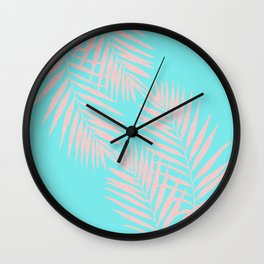 Abstract modern pink Tropical Exotic Palm Leaves on aqua by #Utart Wall Clock