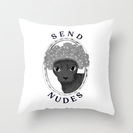 Silly Hairless Sphynx Cat Wearing a Shower Cap- Send Nudes - Funny Quote - Wrinkly Kitty - Pet Portrait Throw Pillow