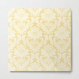 Cream Damasco Metal Print